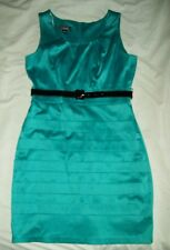 A.BYER Teal Formed Fit Dress Tiered With Belt Woman's Size 7 Satin Zip Back