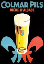 Francés Art ad cerveza colmar Pils Alsacia bebida Pub Bar cartel impresión