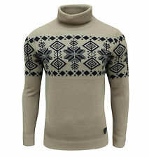 Soul Star Men's Boatsman Nordic Roll Neck Jumper Taupe Small / Chest 35-37 Inch