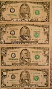 1988 and 1990 $50 United States Federal Reserve Notes: Lot of Four Notes