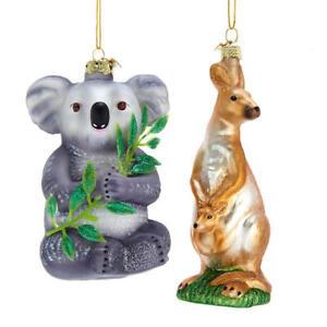 Kangaroo & Koala Glass Ornaments
