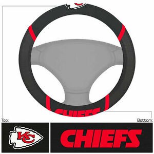 """Football Kansas City Chiefs Embroidered Mesh Steering Wheel Cover 14.5""""-15.5"""""""
