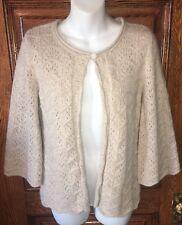 TWEEDS Gorgeous Tan, Open Weave, Angora/Wool Blend, 1-Button Cardigan SWEATER, M