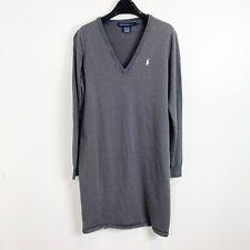 Polo Ralph Lauren Sport Womens V-Neck Sweater Dress Long Sleeve Gray XL