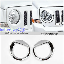 Angry Bird Style Chrome Front headlight Cover Trim for Jeep Patriot 2011-2017