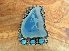 Glass Crystal Kokopelli Unmarked Silver Huge Southwestern Tribal Bolo Tie Clip