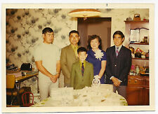 Vintage 70s PHOTO Asian Family Parents Boys Celebrating 25th Wedding Anniversary