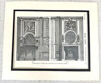 1903 Antico Stampa Francese Ornamentale Overmantel Intagliato Louis XIV Daniel