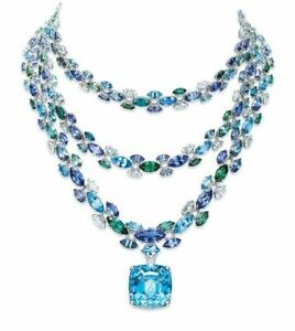 Statement Necklace 925 Sterling Silver Aqua Cushion Three Layer Colorful Jewelry