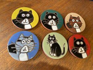 Set Of 6 Ceramic Pottery Cat Retro Coasters