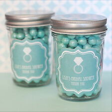 24 Personalized Something Blue Theme Mini Mason Jars Wedding Favor Candy Jars