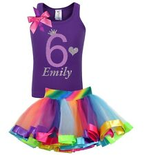 Bubblegum Divas 6th Birthday Shirt Rainbow Party Girls Outfit Personalized Set 6