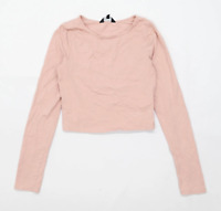 New Look Womens Size 8 Cotton Blend Pink Long Sleeve T-Shirt (Regular)
