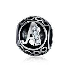 """DIY Letter """"A"""" European CZ Charm Beads Fit Silver Pendant Necklace Bracelet"""