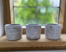 Rustic Set of 3 Grey Cement Tea Light Candle Holder Indoor Outdoor Planter Pots