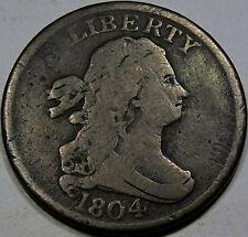 1804 Draped Bust Half Cent Choice F+... C-8 Spiked Chin Variety, Nice & Original