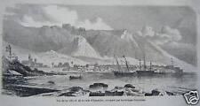 GRAVURE SUR BOIS 1864 VILLE ET RADE ACALPULCO MEXIQUE