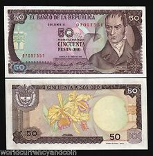 COLOMBIA 50 PESOS P425 1985 FLOWER UNC LATINO CURRENCY MONEY BILL BANK NOTE