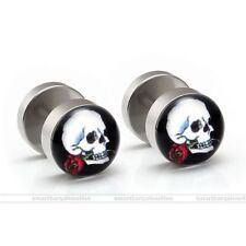 2x Stainless Steel Rose Skull Fake Cheater Barbell Plugs Mens Ear Studs Earrings