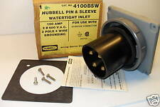 NEW HUBBELL HBL4100B5W 100Amp PIN&SLEEVE REVERSE SERVICE INLET 4100B5W 100A 600V