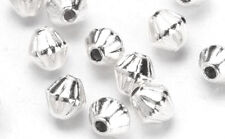 20 Groovie Silver Plated Bicone Beads 5MM
