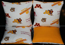 4 Cornhole Bean Bags made w University of Minnesota Golden Gophers Fabric