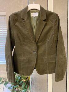 NWOT Banana Republic Blazer Jacket Womens Green Corduroy 1 Button 2 Pocket Sz 10