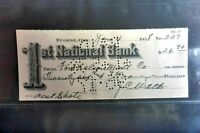 1938 1ST NATIONAL BANK  EUGENE ORE  CHEQUE  USED PAID HOLES