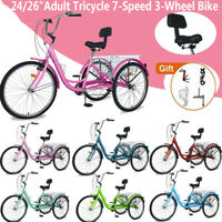 """26/24"""" 7Speed Adult Tricycle 3-Wheel Trike Cruiser Bicycle w/Basket for Shopping"""
