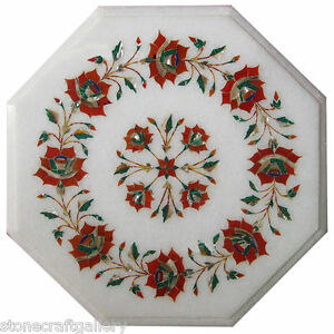 """12"""" Marble Coffee Table Top Lapis Inlay Pietra dure Handmade Home Decor And Gift"""