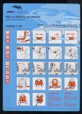 ALPI EAGLES Italian Airline F 100 SAFETY CARD no alitalia sc766 aa