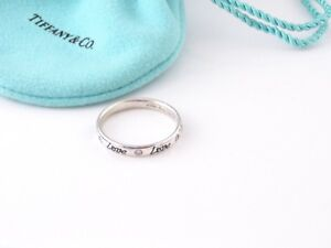 Tiffany & Co RARE NEW MINT Silver Picasso Blue Enamel Diamond Love Ring Size 7.5