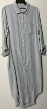 Ralph Lauren Sleep Shirt Size Large Gray Stripe Washable Cotton Blend Pockets