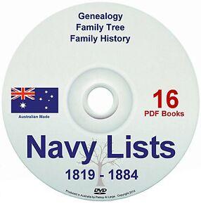 Family History Tree Genealogy England Royal Navy Lists 1800s Old Books DVD