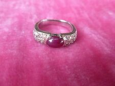 CHIC 14K GOLD , PAVE DIAMOND AND RUBY RING SIZE 5 WEIGHING .165 TROY OZ