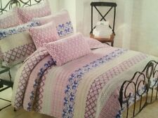 CYNTHIA ROWLEY Twin 2PC QUILT SET ~ LILAC BLUE GRAY FLORAL GEOMETRIC STRIPE