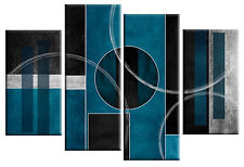 TEAL GREY ABSTRACT CANVAS PICTURE WALL ART SPLIT MULTI PANEL 100cm ready to hang