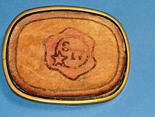 BBB Solid Brass 4977 Leather Decorative Belt Buckle Maker's Mark whiskey bourbon