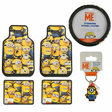 6pc Despicable Me Minions Car Truck Front Rear Floor Mats Steering Wheel Cover