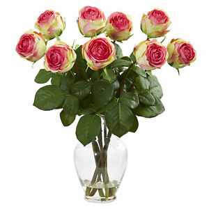 """19"""" Rose Artificial Flower Arrangement In Glass Vase Nearly Natural Fucshia"""