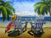 Watercolor Painting Ocean Beach Chair Palm Tree Vacation Nature ACEO Art