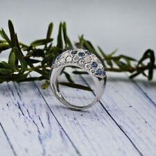 White Gold Fashion ring features 0.50 of Round cut White diamonds and Sapphires
