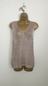 Mint Velvet Size 14 Rose Cold Knit Sleeveless Party Evening Casual Top - Womens