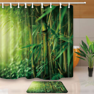 Bamboo Forest with Sunlight Waterproof Fabric Shower Curtain & 12 Hooks 71*71""