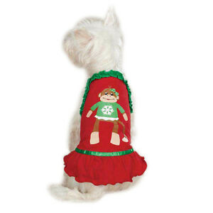 EAST SIDE COLLECTION DOG PUPPY RED GIRL CHRISTMAS MONKEY PET DRESS XXS XS S S/M