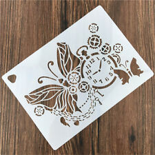 Clock Butterfly Reusable Stencil DIY Scrapbooking Stamping Embossing Paper Card