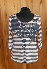 PER UNA slate blue-grey black white striped 3/4 sleeve tunic t-shirt top 16 44