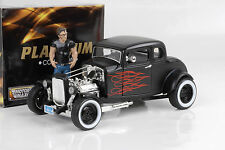 1932 Ford 5 Window HOT ROD CUSTOM MATTE BLACK FLAMES 1:18 Motormax O.Figure