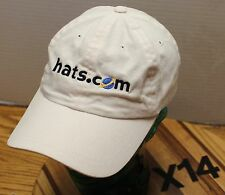 HATS.COM WHITE STRAPBACK ADJUSTABLE HAT EMBROIDERED VERY GOOD CONDITION X14