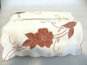 Embroidered Brown Flower Cutwork Cream Fabric Tissue Box Cover